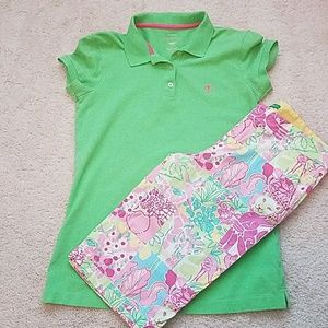 Lilly  Pulitzer green polo shirt